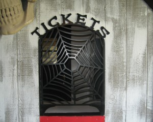 Spider Web Ticket Counter Screen, scary metal decor, custom metal wall screen