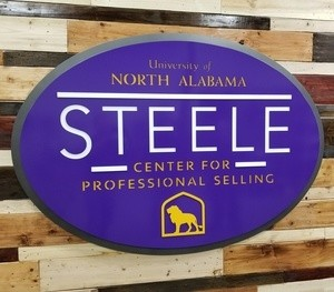 Metal Business Sign for UNA - Steele Center for Professional Selling